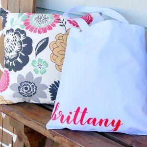 White custom name tote bag